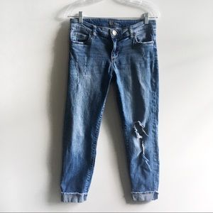 Kut from the Kloth jeans distressed crop raw hem